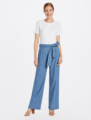 Draper James Wide Leg Chambray Pant