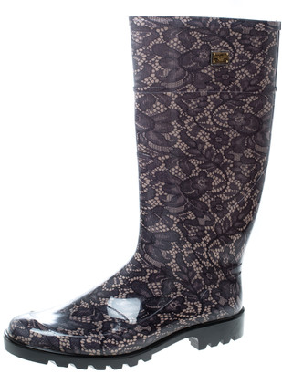 Dolce & Gabbana Lace Print Rubber Boots Size 41