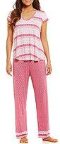 Oscar de la Renta Floral Border-Print Jersey Pajamas