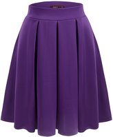 Doublju Elastic Waist Flare Pleated Skater Midi Skirt (Plus size available) PURPLEL