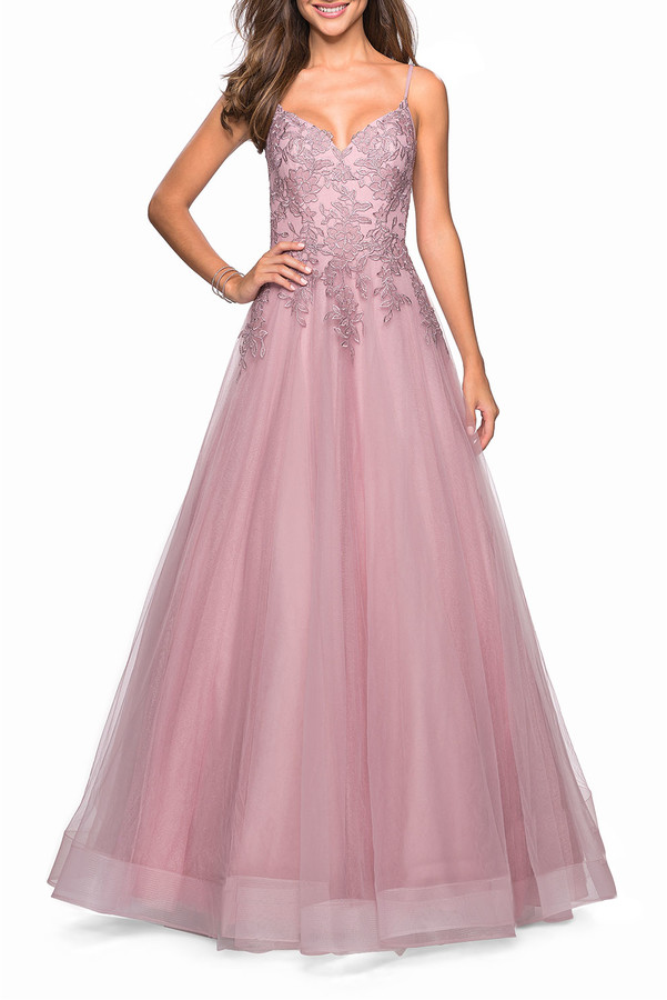 La Femme Sweetheart Sleeveless Tulle & Floral Lace Ball Gown
