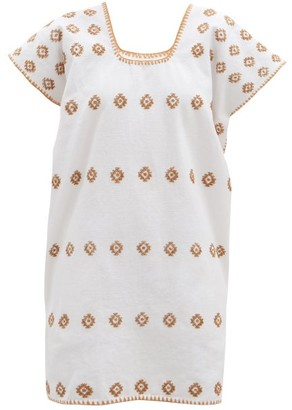 Pippa No.178 Embroidered Cotton Kaftan - White Print