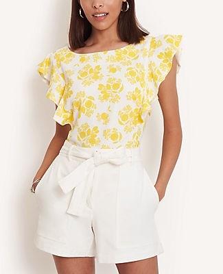Ann Taylor Petite Citrus Blossom Ruffle Sleeve Shell Top