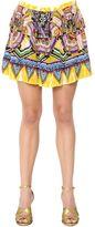 Roberto Cavalli Ruffled Print Silk Crepe De Chine Skirt