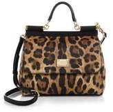 Dolce & Gabbana Medium Miss Sicily Leopard-Print Top-Handle Satchel