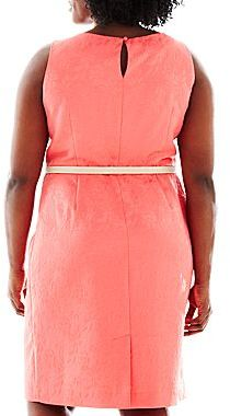 JCPenney 9 & Co.® Belted Jacquard Sheath Dress - Plus
