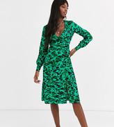 Influence Tall button detail midi dress in green abstract leopard print