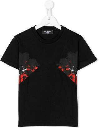 Neil Barrett Kids palm tree print crew neck T-shirt