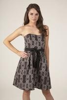 Corey Lynn Calter Haley Strapless Pleat Skirt Dress in Brown