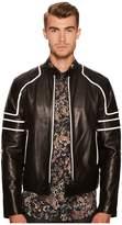 Just Cavalli Contrast Moto Leather Jacket Men's Clothing