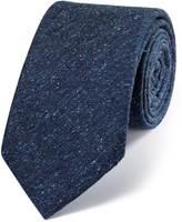Charles Tyrwhitt Navy silk luxury Italian textured fleck tie