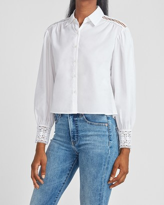 Express Crochet Lace Cropped Button Up Shirt