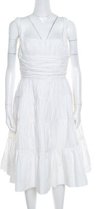 Rochas White Ruched Cotton Square Neck Paneled A Line Dress L