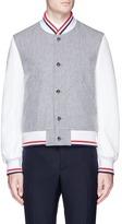Thom Browne Leather sleeve wool melton varsity jacket