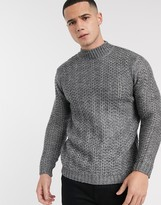 Asos Design DESIGN knitted turtleneck sweater with tuck stitch