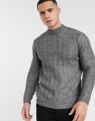 Asos DESIGN knitted turtleneck sweater with tuck stitch