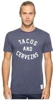 Original Retro Brand The Short Sleeve Heathered Tacos and Cervezas Tee (Heather Navy) Men's T Shirt