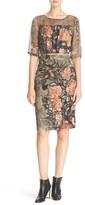 Tracy Reese Floral Print Stretch Silk Blouson Dress