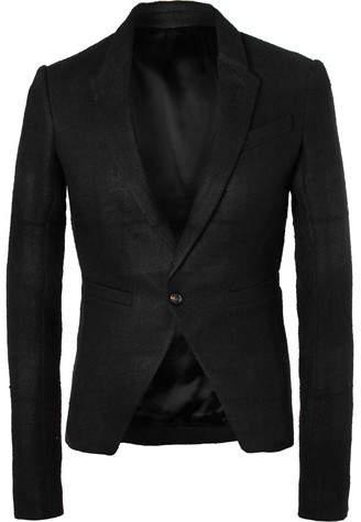 Rick Owens Black Slim-Fit Linen And Camel Hair-Blend Blazer