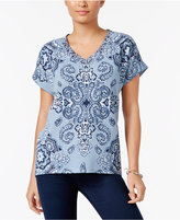 Style&Co. Style & Co Printed Cuffed-Sleeve Top, Only at Macy's