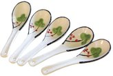 Kylin Express Set of 5 Dinner Service Tableware Ceramic Asian Chinese Soup Spoons