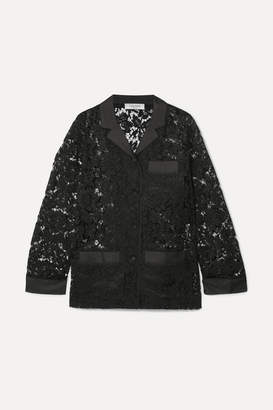 Valentino Satin-trimmed Corded Lace Shirt - Black