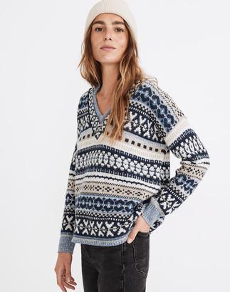 Madewell Forrest Fair Isle V-Neck Sweater