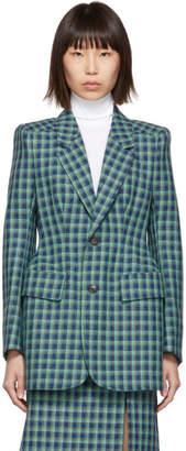 Balenciaga Blue Check Wool Hourglass Blazer