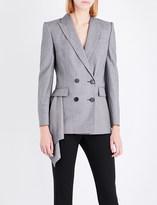 Alexander McQueen Draped-detail wool jacket