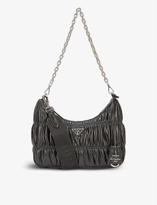 Prada Gathered chain-strap leather shoulder bag