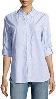 Equipment Margaux Cotton Pinstriped Shirt, Blue Pattern