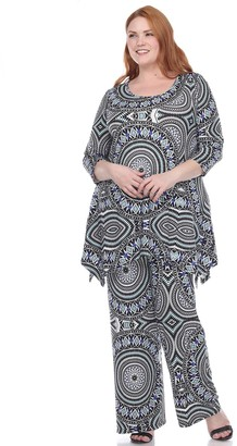 White Mark Plus Size Printed Tunic and Pant Set