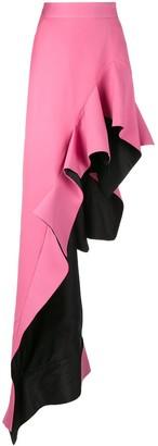 Ronald Van Der Kemp high waisted ruffle asymmetric skirt
