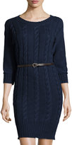Three Dots Reese Cable-Knit Belted Sweater Dress, Indigo