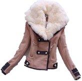 Hittime Womens Slim Fit Fur Collar Coat Short Jacket Winter Warm Tops -L