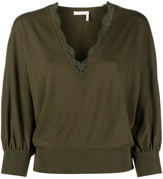 Chloé Scalloped Neck Jumper