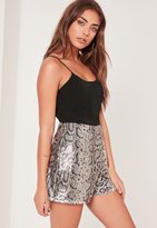 Missguided Snake Print Sequin Strappy Playsuit Silver