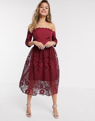Chi Chi London Chi Chi Shannan bardot lace prom dress in burgundy