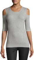 philosophy Half-Sleeve Cold-Shoulder Ribbed Top, Mist Gray
