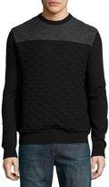 Neiman Marcus Colorblock Jacquard Crewneck Sweater, Black