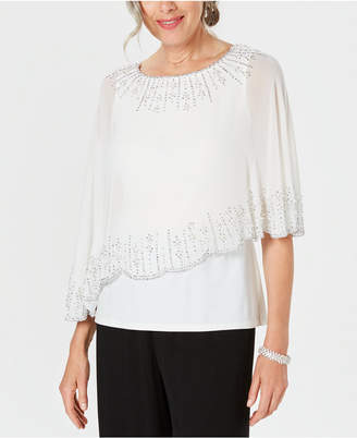 28th & Park Embellished Chiffon-Overlay Top