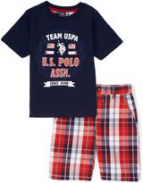 U.S. Polo Assn. Navy Raglan Tee & Plaid Shorts - Infant Toddler & Boys