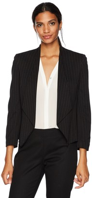 Nine West Women's Wing Lapel Kiss Front Foil Print Stripe Jacket
