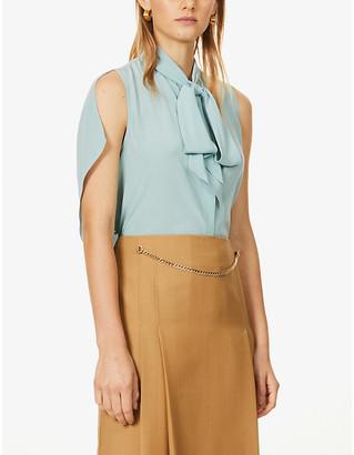 Victoria Beckham Sleeveless tie-collar silk shirt
