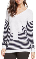 BCBGeneration Striped Intarsia-Knit V-Neck Pullover
