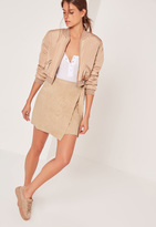 Missguided Faux Suede Side Tie Mini Skirt Camel