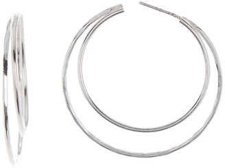 Argentovivo Sterling Silver Hammered Open Crescent Hoop Earrings