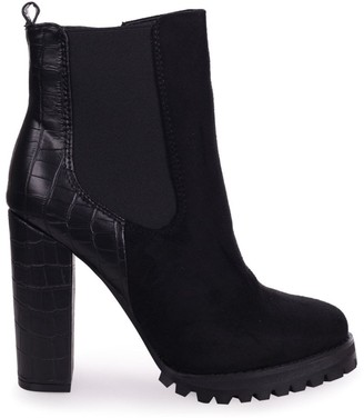 Linzi SHIMMY - Black Suede Heeled Ankle Boot With Croc Block Heel & Cleated Sole