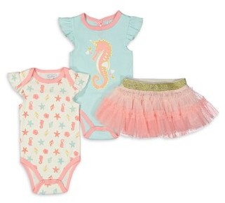 Quiltex Baby Girl Bodysuits & Skirt Outfit, 3pc Set