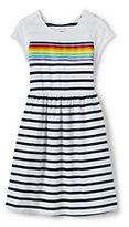 Lands' End Little Girls Gathered Waist Graphic Knit Dress-Placed Rainbow Stripe
